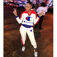 Champion New fashion logo print long sleeve top and pants two piece suit White