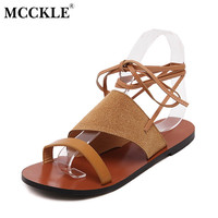 MCCKLE Hot Sale Women Gladiator Sandals New Fashion Lace-up Summer Flat Sandals Women Summer Casual Shoes