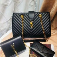DCCK Year-End Promotion 3 Pcs Of Bags Combination (YSL Big Bag ,YSL Little Bag ,YSL Wallet)