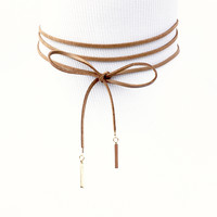 Around It Goes Choker Wrap Necklace In Brown