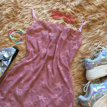 Pink Mesh Star Mini Dress