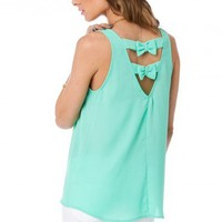 Just A Bow Tank in Mint - ShopSosie.com