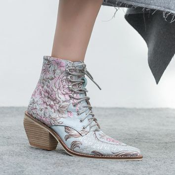 Funky Lace Up Floral Embroidered Ankle Boots 5 Colors