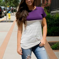 From This Moment Plum Striped Top