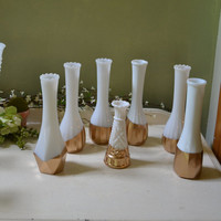 Seven Vintage Milk Glass Gold Dipped Vases Home and Wedding Decor