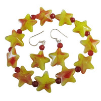Yellow Star Christmas Bracelet Yellow Star With  Red Beads Christmas Stretchable Bracelet Sterling Silver Earrings Free Shipping In USA