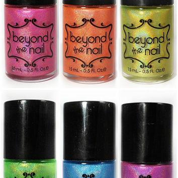 Summer Galaxy Nail Polish Collection Set - Neon and Holographic