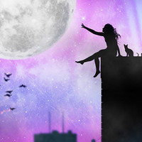 The moon,The girl and the city,Moon,girl,city,night,stars,landscape,art,artwork,new york,pink,blue