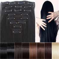 "Clearance Sale Cheapest 8pcs 26"" Long 170g Straight Style Hair Extension Create Ombre Feeling Soft Synthetic 14 Colors Clip In"