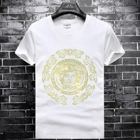 VERSACE Fashion Men Casual Diamond Pattern Shirt Top Tee White
