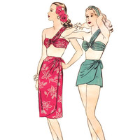 1940s Bathing Suit Pattern, Hollywood 1581, One Shoulder Draped Bra Top, Sarong Skirt & Wrap Shorts, Vintage Sewing Pattern, Bust 30