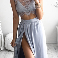 Two Piece Cap Sleeves Grey Lace Homecoming Dress Prom Dress SD22