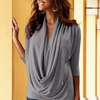 Draped front sweater