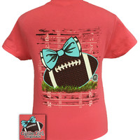 Girlie Girl Originals Preppy Football Team Coral Silk Bright T Shirt