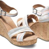MULTI STRIPES STRAPPY WEDGES