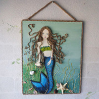 Mermaid Art Original Mixed Media Beach Wall Hanging. Brown Hair, Blue eyes, OceanDecor on Canvas. 16X20 inches