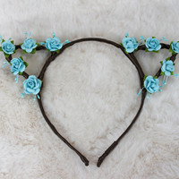Sky Blue Cat Ears - Flower Cat Headband - Cat Ears Headband - Kitty Ears -  Coachella Festival - Kitten Play Ears - Petplay - Kittenplay