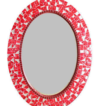Red Oval Mosaic Mirror