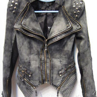 New Womens Punk Spike Studded Shoulder Vintage Denim Jacket Jeans coat Size S-XL