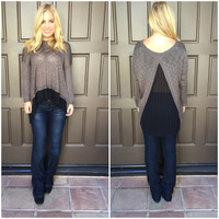 Fig & Pleat Knit Sweater - Olive