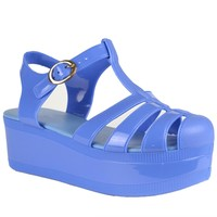 Womens Platform Sandals Jelly Adjustable Strap Casual Comfort Shoes Blue