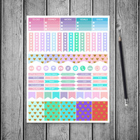 SALE 50% Gold Hearts Planner Stickers, Printable Planner Stickers, Erin Condren Life Planner, Instant Download