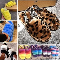 Wearwinds UGG High Quality Classic Women Multicolor Fur Flats Sandals Slippers Shoes