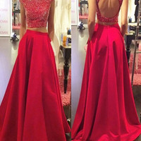 A Line Round Neck Cap Sleeves 2 Pieces Red Prom Dress, 2 Pieces Red Formal Dress