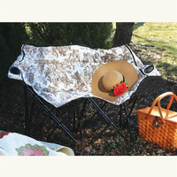 Glamping Double Seat Brown Toile Folding Camping Loveseat