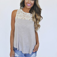 Taupe Crochet Top Tank