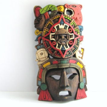 Vintage Aztec Hand Carved Painted Colorful Tribal Mask