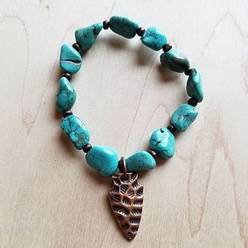 Blue Turquoise and Wood Stretch Bracelet w/ Copper Arrowhead