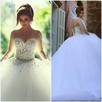 Said Mhamad 2015 Long Sleeves Ball Gown Wedding Dresses vestidos de noiva Crystals Wedding Gowns Lace Up Back robe de marriage