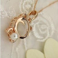 Cat White Stone Fashion Jewelry Woman Pendant Necklace