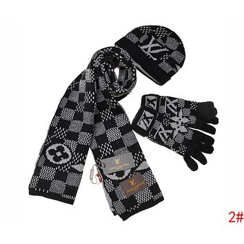 Louis Vuitton LV Stylish Women Men Plaid Pattern Warm Knit Hat Cap Scarf Gloves Set Three Piece 2# Black Grey I-AJIN-BCYJSH