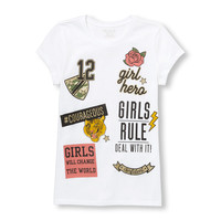 Girls Short Sleeve Glitter 'Girls Rule' Graphic Tee | The Children's Place