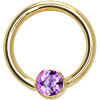 Solid 14KT Yellow Gold Amethyst 4mm Bezel-Set Cubic Zirconia Captive Ring | Body Candy Body Jewelry