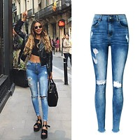 2017 Woman Jeans High Waist Jeans Stretch Denim Slim Nine Pants Ripped Jeans For Women Irregular Hole Sexy Boyfriend Jeans Femme