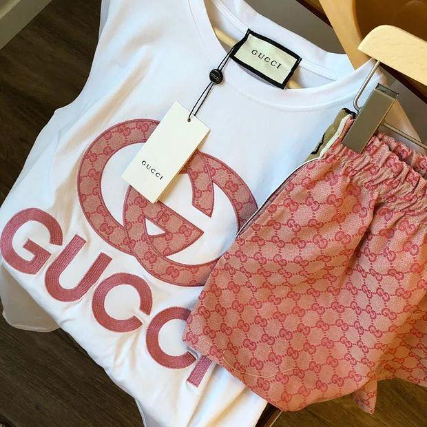 Image of GG Women Casual Top Shorts Set Two-piece