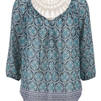Crochet Back Patterned Chiffon Top - Blue Jasmine Combo