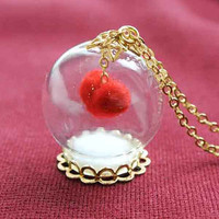 10% SALE Necklace Love Valentine's Red heart Glass Bead Orb Gold Pendant on Chain