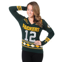 Green Bay Packers Aaron Rodgers #12 Womens V Neck Glitter Sweater Sizes S-XL w/ Priority Shipping