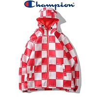 Champion Newest Popular Women Men Tartan Pattern Hoodie Cardigan Jacket Coat Windbreaker Red