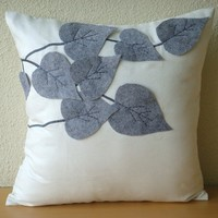 Winter Leaves - Throw Pillow Covers - 16x16 Inches Suede Pilllow Cover with Felt Embroidery