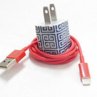 Blue Maze I Phone Charger and USB Cable by PersonalPower on Etsy