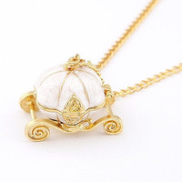 New Sweet Pumpkin Carriage Necklace Cinderella Pendant