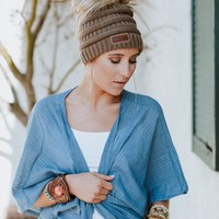 Messy Bun Knitted Beanie - Mocha
