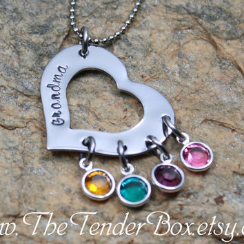 Free Shipping Personalized Grandma Necklace, custom heart washer necklace with swarovski crystals