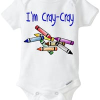 """Funny Onesuit baby boy gift: """"I'm Cray-Cray"""" Crazy Crayon newborn baby gift / baby shower / blue / Preemie Size Available"""
