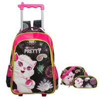 School Backpack JASMINESTAR Children School Bags 3PCS/Set Mochilas Kids Backpacks Cartoon Cat With Two Wheels Trolley Luggage For Girls Backpack AT_48_3
